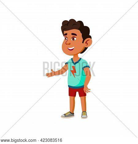 Small African Boy Meeting New Classmate Cartoon Vector. Small African Boy Meeting New Classmate Char