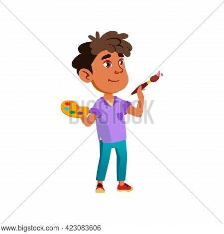Little Hispanic Boy Drawing With Paint And Brush Cartoon Vector. Little Hispanic Boy Drawing With Pa