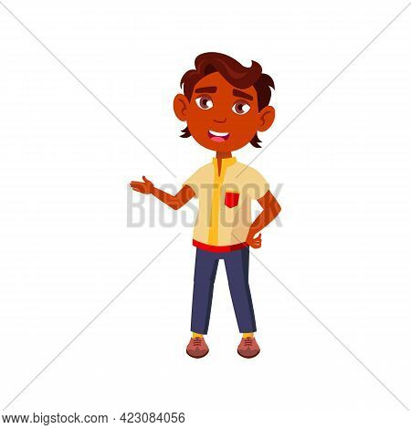 Young Indian Boy Explaining A Rule To His Classmate Cartoon Vector. Young Indian Boy Explaining A Ru