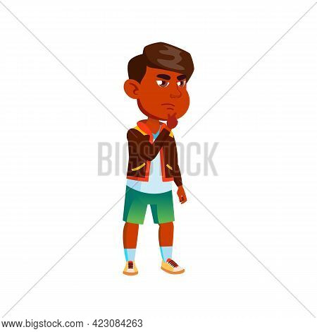 Thoughtfully Indian Boy Think Game Strategy Cartoon Vector. Thoughtfully Indian Boy Think Game Strat