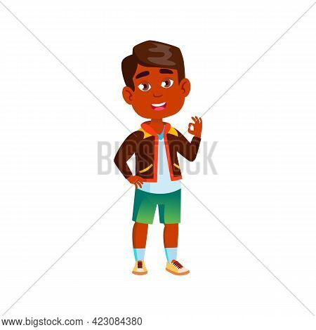 Happy Hispanic Boy Child Approve Friend Choice Cartoon Vector. Happy Hispanic Boy Child Approve Frie