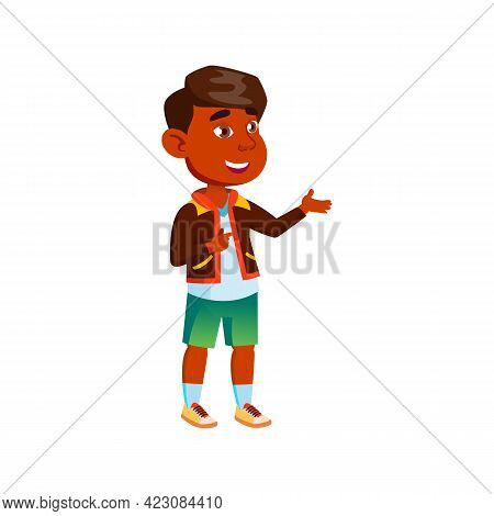 Funny Hispanic Little Boy Talking With Parents Cartoon Vector. Funny Hispanic Little Boy Talking Wit
