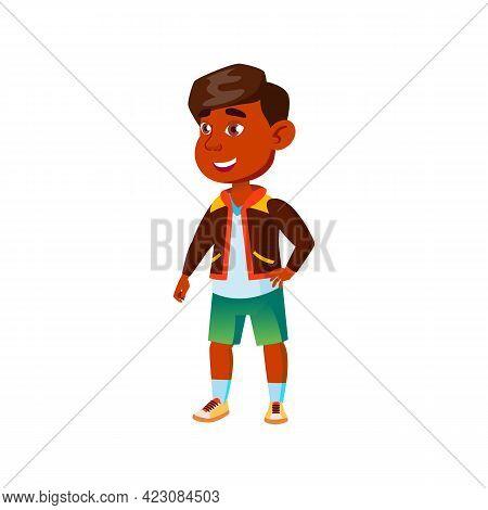 Hispanic Small Boy Saw Funny Situation Cartoon Vector. Hispanic Small Boy Saw Funny Situation Charac