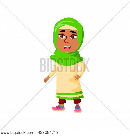 Happy Arab Girl Kid On Fair Cartoon Vector. Happy Arab Girl Kid On Fair Character. Isolated Flat Car