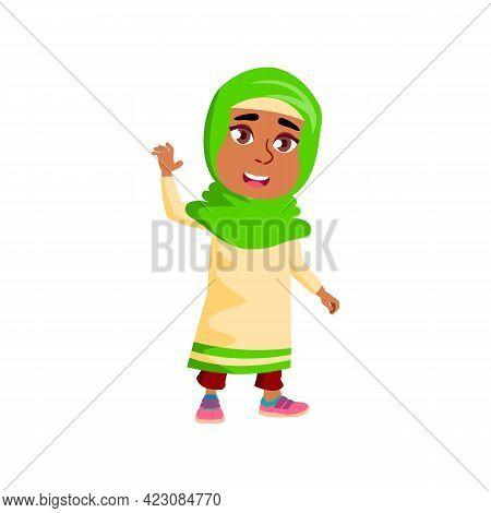 Cute Arabian Girl On Excursion Cartoon Vector. Cute Arabian Girl On Excursion Character. Isolated Fl