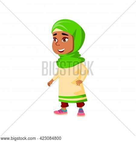 Smiling Arabian Little Girl In Theater Cartoon Vector. Smiling Arabian Little Girl In Theater Charac