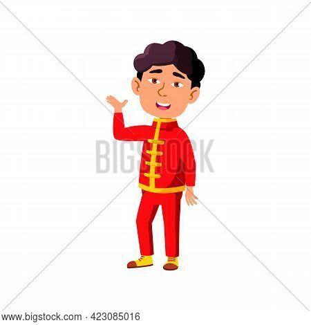 Asian Little Boy Artist Participating In Theatrical Play Cartoon Vector. Asian Little Boy Artist Par