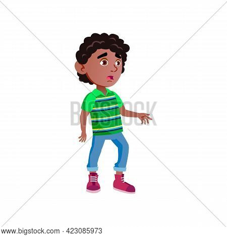 Astonished African Boy Staring At Zoo Animals Cartoon Vector. Astonished African Boy Staring At Zoo