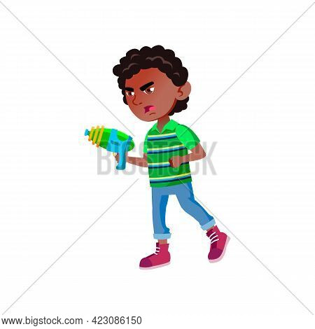Mad Boy Play Laser Tag Battle With Friends Cartoon Vector. Mad Boy Play Laser Tag Battle With Friend