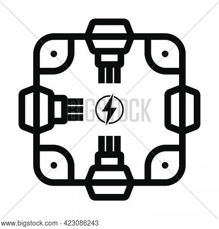Electrical Junction Box Icon. Editable Bold Outline Design. Vector Illustration.