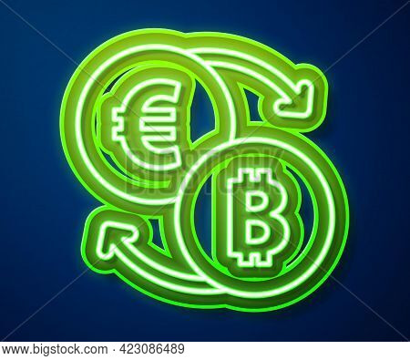 Glowing Neon Line Cryptocurrency Exchange Icon Isolated On Blue Background. Bitcoin To Euro Exchange