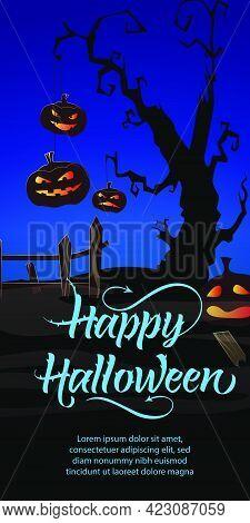 Happy Halloween Lettering. Jack O Lanterns Hanging On Tree At Graveyard On Blue Background. Hallowee