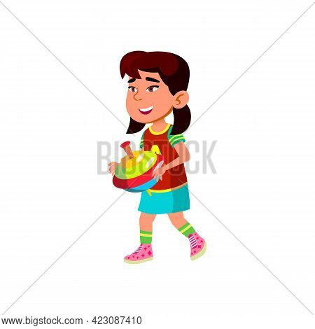 Funny Little Girl Play With Humming Top Toy Cartoon Vector. Funny Little Girl Play With Humming Top