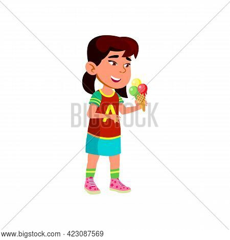 Asian Girl Eating Ice Cream In Cafeteria Cartoon Vector. Asian Girl Eating Ice Cream In Cafeteria Ch