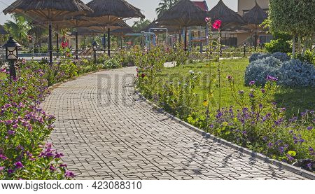 Panoramic Landscape View Of Rural Countryside Public Park Outdoor Area With Footpath Through Tropica