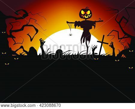 Dead Men Coming Out Of Ground Vector Illustration. Cruel Scarecrow With Hanging Spider Against Sunse
