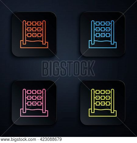 Color Neon Line Tic Tac Toe Game Icon Isolated On Black Background. Set Icons In Square Buttons. Vec