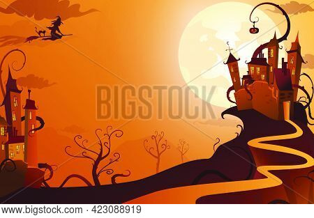 Witch Flying To Mysterious House Vector Illustration. Full Moon Against Gothic Castle, Picture In Or