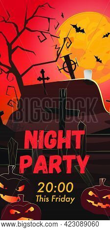 Night Party This Friday Lettering. Graveyard, Pumpkins And Bats In Red Moonlight. Holiday Event Invi