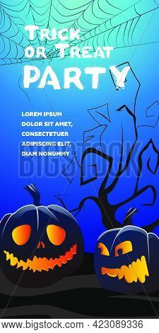 Trick Or Treat Party Lettering. Jack O Lanterns, Tree And Cobweb On Blue Background. Holiday Event I
