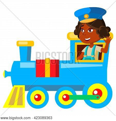 Indian Girl Playing Captain And Driving Train Transport Cartoon Vector. Indian Girl Playing Captain