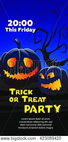 Trick Or Treat Party This Friday Text. Pumpkins, Cobweb, Tree On Blue Background. Holiday Event Invi