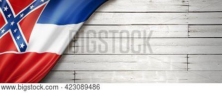 Mississippi Flag On White Wood Wall Banner, Usa. 3d Illustration