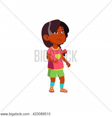 Upset Indian Girl Crying About Broken Toy Cartoon Vector. Upset Indian Girl Crying About Broken Toy