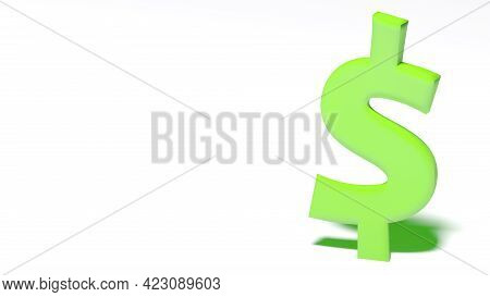 Green Dollar Sign At The Right Border Of A White Clean Empty Background - 3d Rendering Illustration