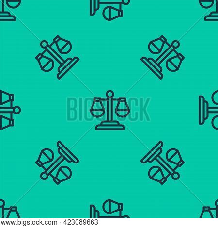 Blue Line Scales Of Justice Icon Isolated Seamless Pattern On Green Background. Court Of Law Symbol.