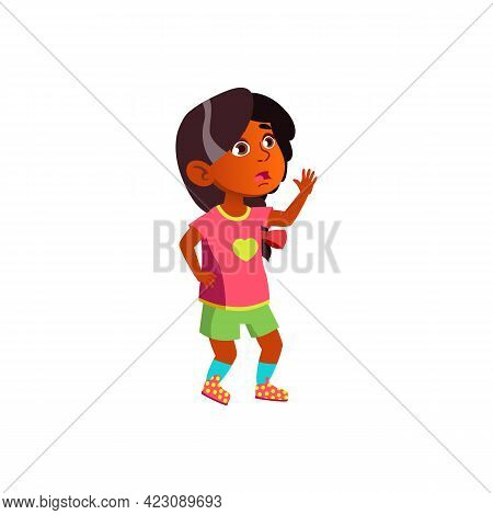 Scared Little Girl Calling For Help Cartoon Vector. Scared Little Girl Calling For Help Character. I