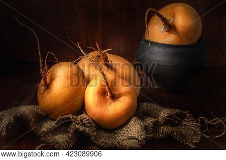 Turnip Fruits On A Coarse Fabric In Dark Colors