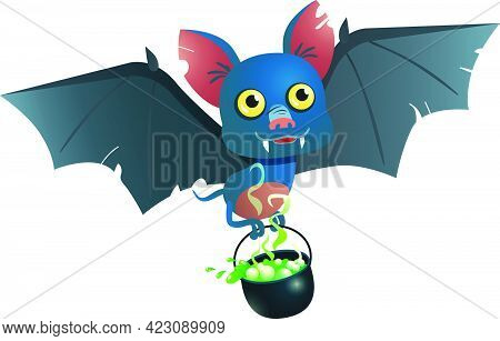 Bat Carrying Cauldron With Potion Vector Illustration. Party, Celebration, Event. Halloween Concept.