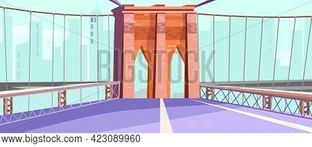 Brick Arch Of City Bridge Vector Illustration. City Road With Railing And Arch. Bridge Design Concep