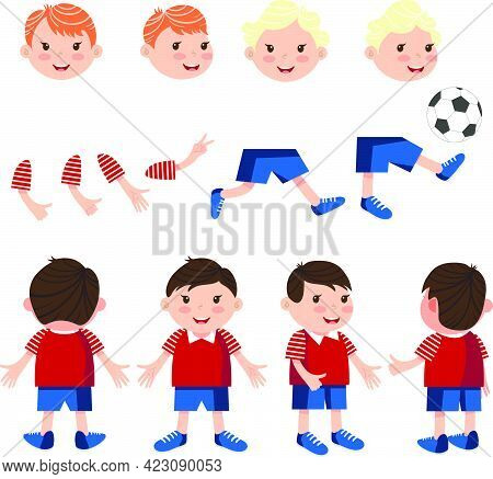 Carefree Boys Characters Set With Different Poses, Gestures. Animation Constructor, Front, Back And