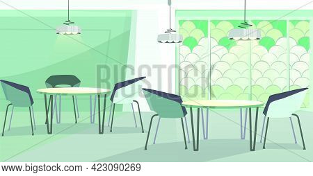 Cozy Cafe With Modern Design Vector Illustration. Modern Cafeteria With Round Tables, Chairs And Mos