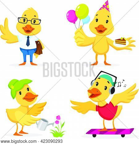 Cute Duckling Enjoying Different Actions. Cartoon Character Set. Going To Work, Celebrating Birthday