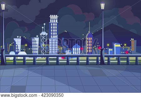 Dark Cityscape With Switched On Lights Vector Illustration. City Sidewalk With Street Lights. Large