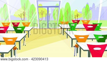 Diner Interior Vector Illustration. Cafe, Fast Food Restaurant, Table, Chair. Food Industry Concept.