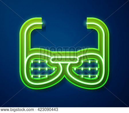 Glowing Neon Line Glasses For The Blind And Visually Impaired Icon Isolated On Blue Background. Vect