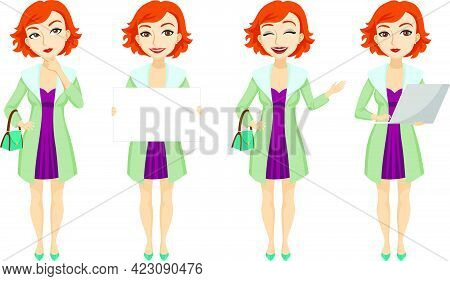 Fashionable Redhead Woman In Purple Dress Character Set With Different Poses, Emotions, Gestures. Pa