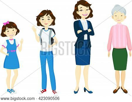 Female Of Various Age Character Set With Different Gestures, Poses, Actions. Child, Schoolgirl, Adul