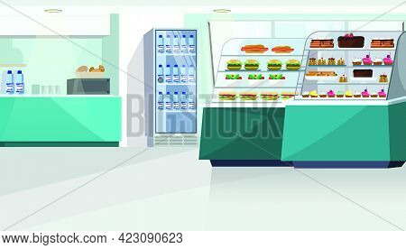 Food Counter In Confectionery Store Vector Illustration. Sandwiches, Burgers And Candies On Shelves,