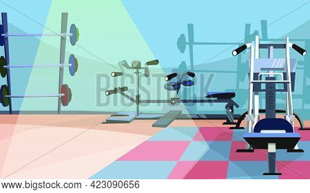 Gym Interior Vector Illustration. Workout Equipment, Fitness Club, Bars. Sport Concept. Can Be Used