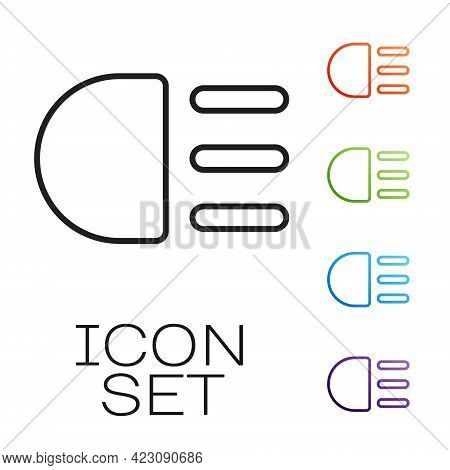 Black Line High Beam Icon Isolated On White Background. Car Headlight. Set Icons Colorful. Vector