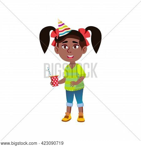 Happy Girl With Festival Hat Drink Beverage On Xmas Party Cartoon Vector. Happy Girl With Festival H