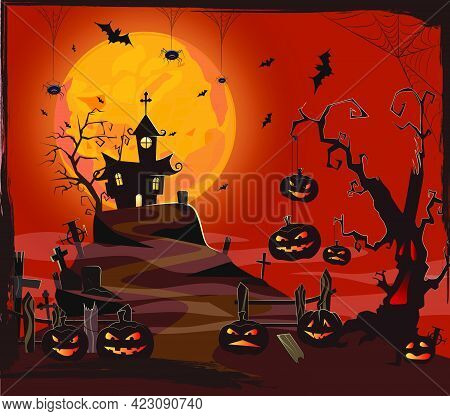 Haunted House Against Moon, Cemetery And Pumpkins Vector Illustration. Orange And Black Spooky Backg