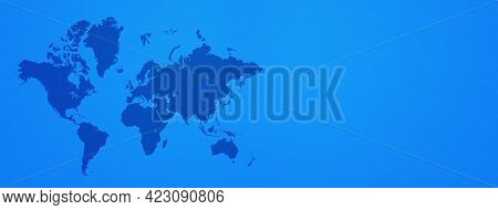 World Map Isolated On Blue Wall Background. Horizontal Banner