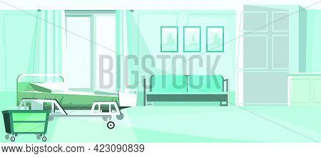 Hospital Room With Bed On Wheels Vector Illustration. Blue Private Room Un Clinic With Comfortable S