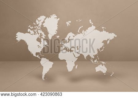 World Map Isolated On Beige Wall Background. 3d Illustration